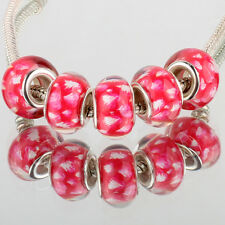 Creative 5pcs SILVER MURANO bead LAMPWORK For European Charm Gold Bracelet DIY
