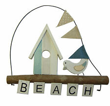 "Hanging ""Beach"" Plaque with Hut and Bird"