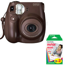 Fuji Instax Mini 7s Instant Film Camera (Choco) + 1 Twin Pack Film (20 Prints)