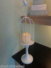 Shabby Chic Brushed White Metal Birdcage Tea Light/Candle Holder-Wedding Table