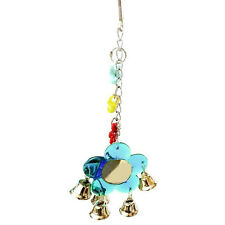 Parrot Toys Bird Flower Mirror Budgie Parrot hanging Toy with Bell Chain Acrylic