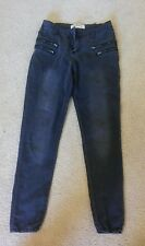 Cottonon.com Ankle Grazer size 6 Distressed Black Jeans High Rise with Zippers