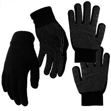 GRIPPER GLOVES ADULTS MENS BLACK THERMAL MAGIC GRIPPER WINTER GLOVES ONE SIZE