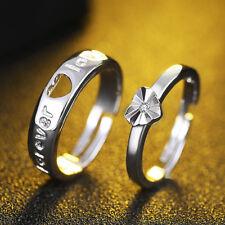 2 piezas Diseño simple Plata plateada Amantes de la Corazón Ajustable Anillos