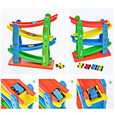 Colorful Wooden Childrens Kids Car Slider Click Clack Race Track Wood Run Toy