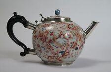 Qing (Yongzheng) Chinese Imari silver mounted porcelain bullet teapot  c1730