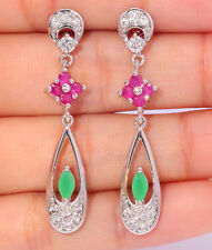 ***STUNNING*STERLING SILVER FILLED RUBY/EMERALD/CZ  Earrings 42x8mm