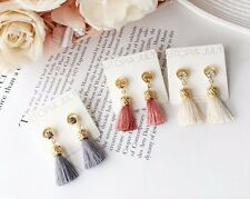 Bohemian Long Gold Crystal Tassel Fringe Drop Dangle Fashion Earrings 038