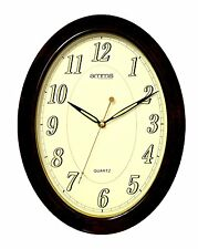 Large Bold Brown Oval Case Arabic Numerals Quartz Wall Clock by AMMS GD043035
