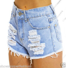 Size 8 10 12 14 16 NEW HIGH WAIST SHORTS Ladies DENIM RIP HIGH WAISTED HOTPANTS