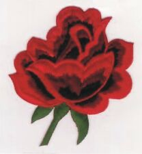 "4"" Valentine's Day Red Rose Flower Embroidery Patch"