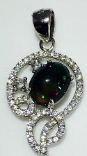 NATURAL FULL FIRE BLACK OPAL & WHITE CZ STERLING SILVER 925 PENDANT