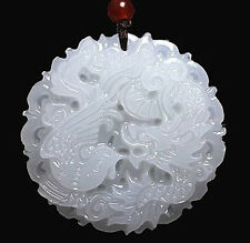 Natural White Jade Dragon Phoenix Pendant Chinese Hand Carved Lucky Amulet Hot