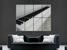 WHITE PIANO KEYS MUSIC SIMPLISTIC ART WALL LARGE IMAGE GIANT POSTER