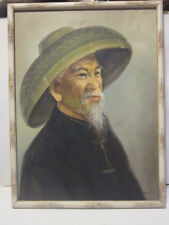 VINTAGE OIL PAINTING ON CANVAS OLD CHINESE MAN IN HAT SIGNED TANG PING