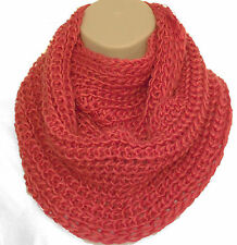 Superb Chunky Knit Orange Circle Loop Infinity Scarf Snood - Christmas Gift