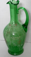 Green Glass Raised Painted Floral Jug Vase with Handle