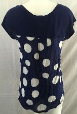 Anthropologie Porridge Navy Blue White Polka Dot Tee Shirt Top Women's Sz S