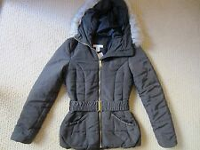 WOMENS H&M OLIVE GREEN HOODED PUFFER JACKET OUTERWEAR W/ BELT SIZE 4 US/ 34 EUR