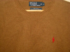 POLO RALPH LAUREN SOFT COTTON  TOFFEE CREW SWEATER-RED EMBROIDERED PONY-NICE- M