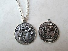 Silver Plated Alexander The Great Coin Double Sided Necklace New in Gift Bag
