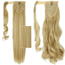 Long Clip in Hair Extension As Human Pony Tail Wrap Around Ponytail Brown Blonde
