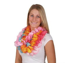 LOT OF 50 HAWAIIAN CARNATION FLOWER TWO TONE LEIS LUAU BEACH PARTY CARNIVALS