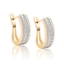 Fashion jewelry 18K gold filled lady Swarovski crystal luxury hoop earrings