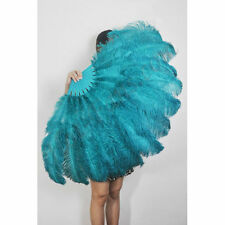 "Teal Burlesque fan 2 layers Ostrich Feathers 54"" dancing fan with gift box"