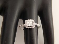.65 tcw Princess Quad Illusion Halo Diamond Engagement Ring Designer 14k WG F/SI