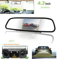 "4.3"" Car Reverse Rear View Mirror Monitor Backup HD Camera & Radar Sensor Kits"