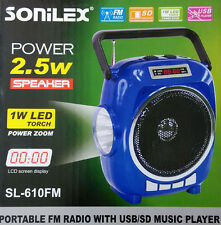 SONILEX SL610 Portable FM Transistor/Radio with USB/SD MP3 Player+Display+Torch
