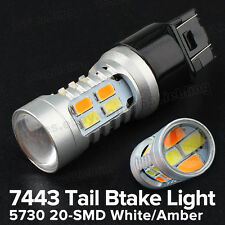 2X 7443 Dual Color High Power 5730 20-SMD White/Amber LED Tail Brake Light Bulbs