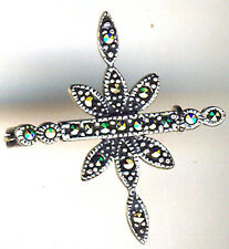 "Plata Esterlina 925 delicada Marcasita Broche 30 X 25 Mm (1.1 / 5 ""x 1"")"