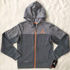 Nike JORDAN Boys Hoodie MEDIUM Full Zip Therma Fit Grey Sweatshirt NWT $75