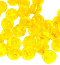 G784L Yellow 10mm Round Silver Foil Lined Lampwork Glass Beads 22/pkg