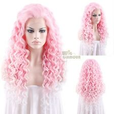 "Long Spiral Curly 26"" Pink with Light Blonde Tips Lace Front Wig Heat Resisitant"
