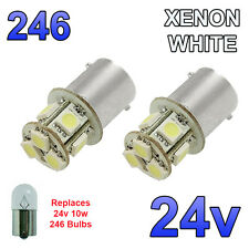 2 x White 24v LED BA15s 246 R10W 8 SMD Number Plate Interior Bulbs HGV Truck