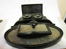 Antique Depose Black Double Inkwell w/Glass Inserts Marble Inlay & Ink Blotter