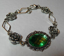 VICTORIAN STYLE - DIAMOND ROSE - APPLE GREEN CRYSTAL SILVER PLATED BRACELET DR