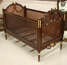 Louis XVI small child's bed carved mahogany with full gilt gold accents