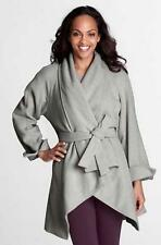 NEW LANDS END WOMENS HEATHER GRAY WOOL PARKA WRAP COAT W/ BELT