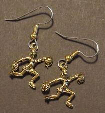 Cheerleader Earrings Pom-Pom 24 Karat Gold Plate Cheer