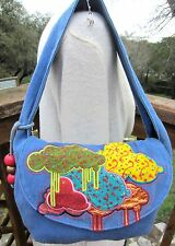 LOOP NYC Blue Flap Raincloud Dream Appliqué Bag Boho  0Z