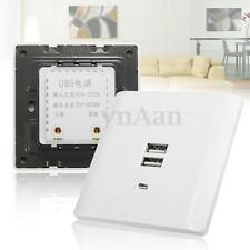 Electrical LED Dual 2 USB Wall Socket Charger Power Outlet Faceplate Plate Panel