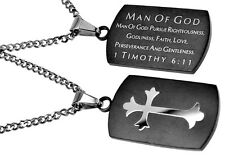 Christian Dog Tag, Man Of God, Bible Verse, Stainless Steel Chain, Black Pendant