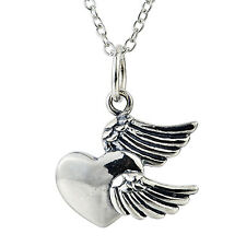 retro Guardian Angel Wings &heart Pendant Necklace in 925 Sterling Silver 18""