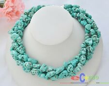 """S1136 4row 18"""" 18mm original chunk Turquoise stone NECKLACE Magnet"""
