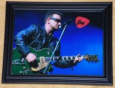 Bono Signed Guitar Pick U2 Frame With Live Photo