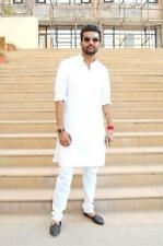 Indian Traditional White Cotton Pyjama Men's Designer Casual Wear Kurta Pajama